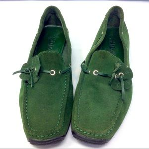 Suede Sam and Libby forest green moccasins